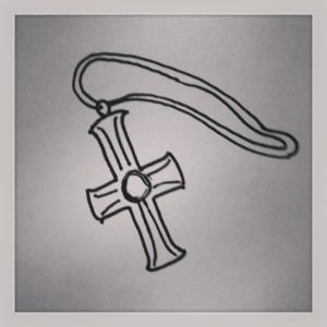 So, they gave me this little cross necklace when I joined. Wasn't that nice of them?