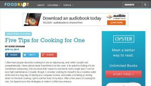 Five Tips for Cooking for One